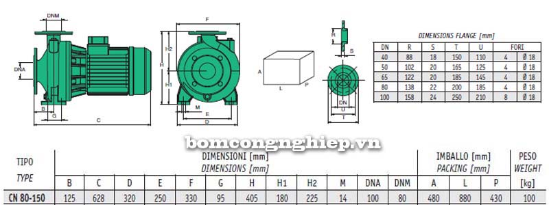 Bảng thông số chi tiết kích thước của máy bơm công nghiệp Sealand CN 80-160A