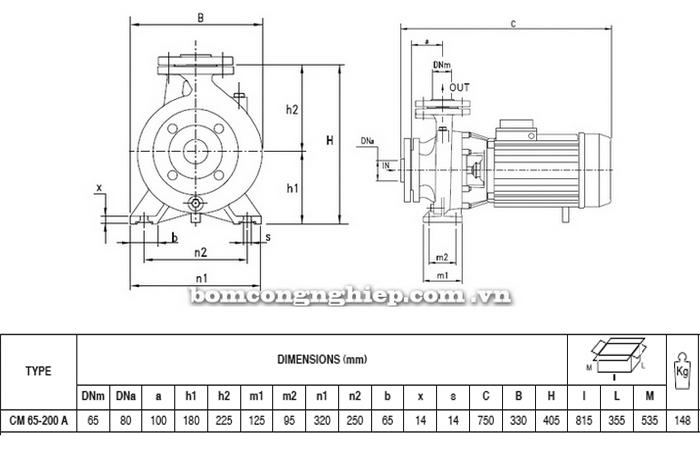 Bảng thông số chi tiết kích thước của máy bơm công nghiệp Pentax CM 65-200A
