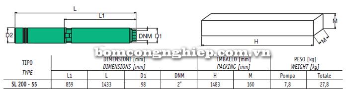 Bảng thông số chi tiết kích thước của máy bơm giếng khoan Sealand SL 200-55