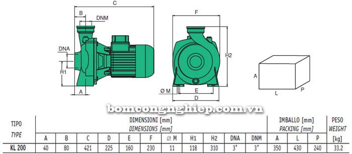 Bảng thông số chi tiết kích thước của máy bơm ly tâm lưu lượng lớn Sealand KL 200T