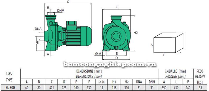 Bảng thông số chi tiết kích thước của máy bơm ly tâm lưu lượng lớn Sealand KL 300T