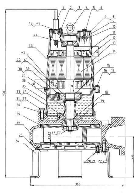 cấu tạo chi tiết máy bơm nước thải Lucky pro SW2200