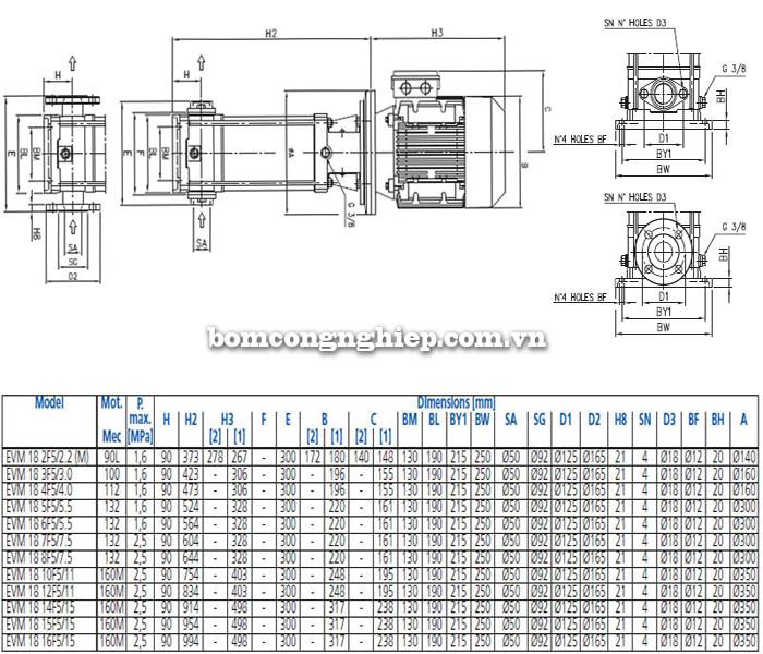 Bảng thông số chi tiết kích thước của máy bơm trục đứng đa cấp EBARA EVM-18